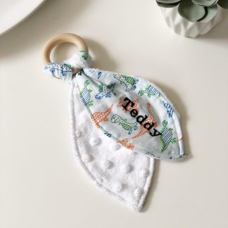 Outlet Personalised Teddy Teething Ring – www.sewsian.com