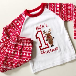 Personalised First Christmas Reindeer Pyjamas – www.sewsian.com