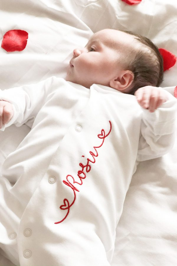 Personalised Name Heart Sleepsuit – www.sewsian.com
